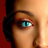 Aqua Cat Eye Contact Lenses